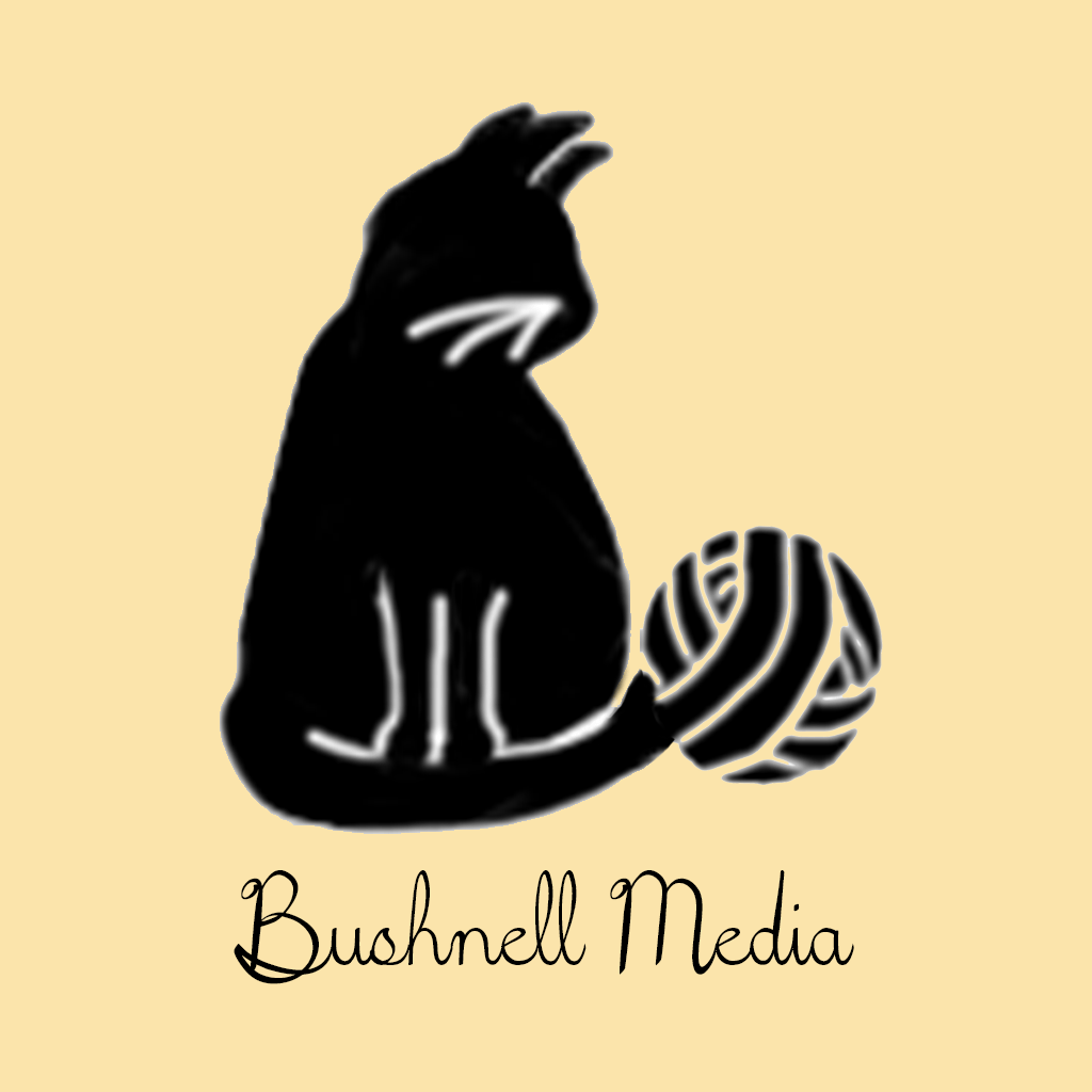 Bushnell Media Icon With Text Logo.Gold Background